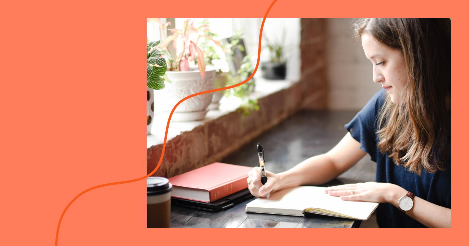 woman writing unique content