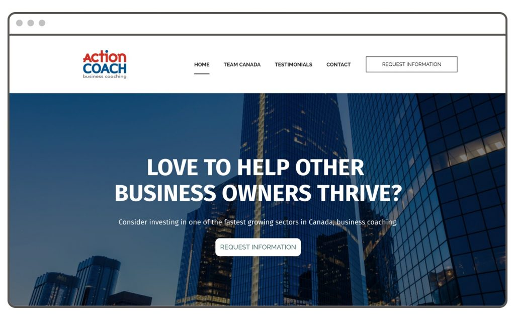 Website templates for franchises ActionCoach Canada