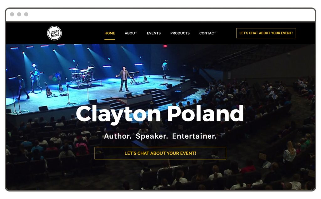 Clayton Poland Speaker Website Example Leadpages