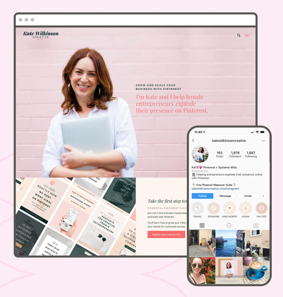 Leadpages Customer Kate Wilkinson Creative exhibits consistent branding across her website, landing pages, and social media platforms.
