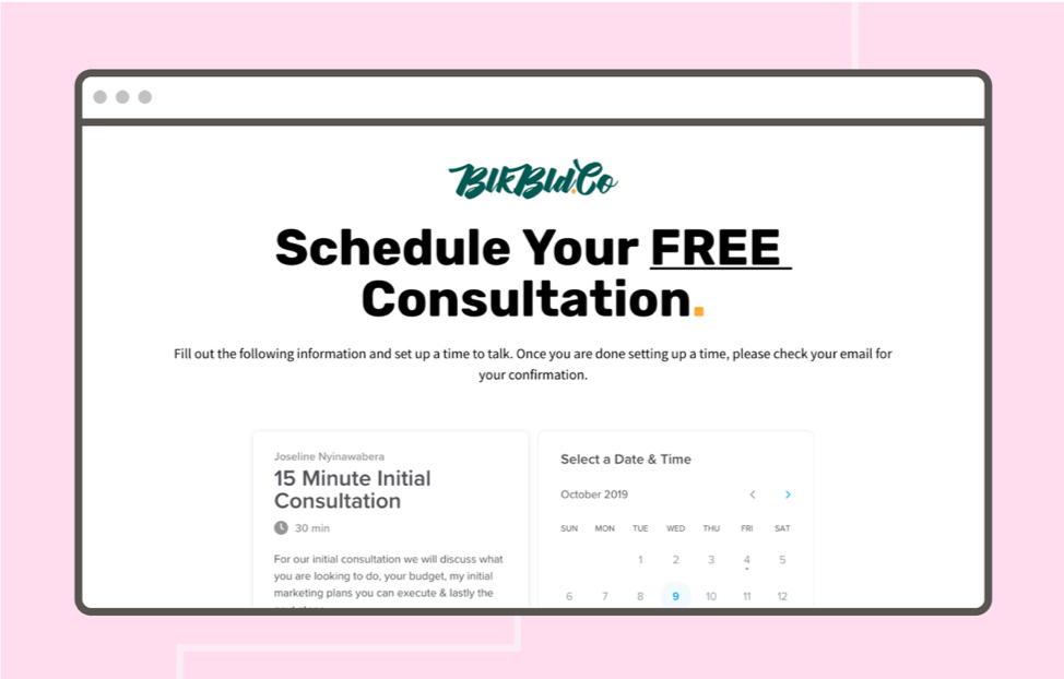 Example of free consultation landing page web page