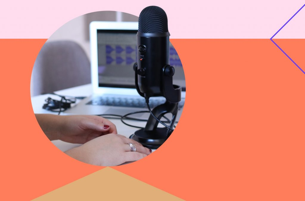 Woman podcasting with mic