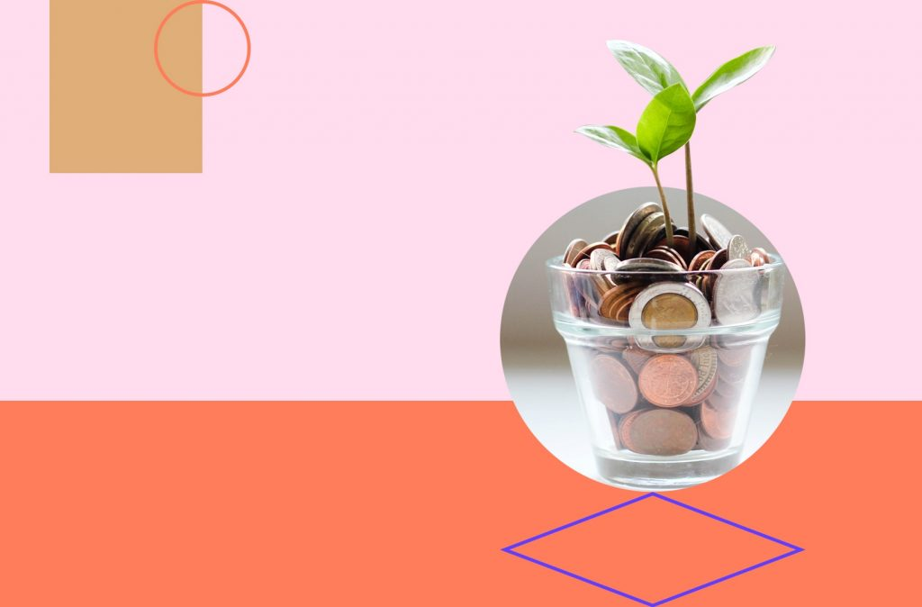Planter with coins and a plant