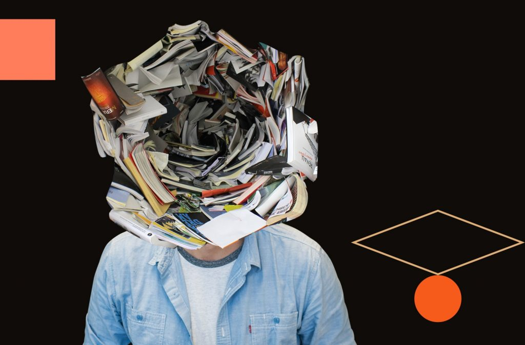 Man with lots of books, papers, and notebooks swirled around his head