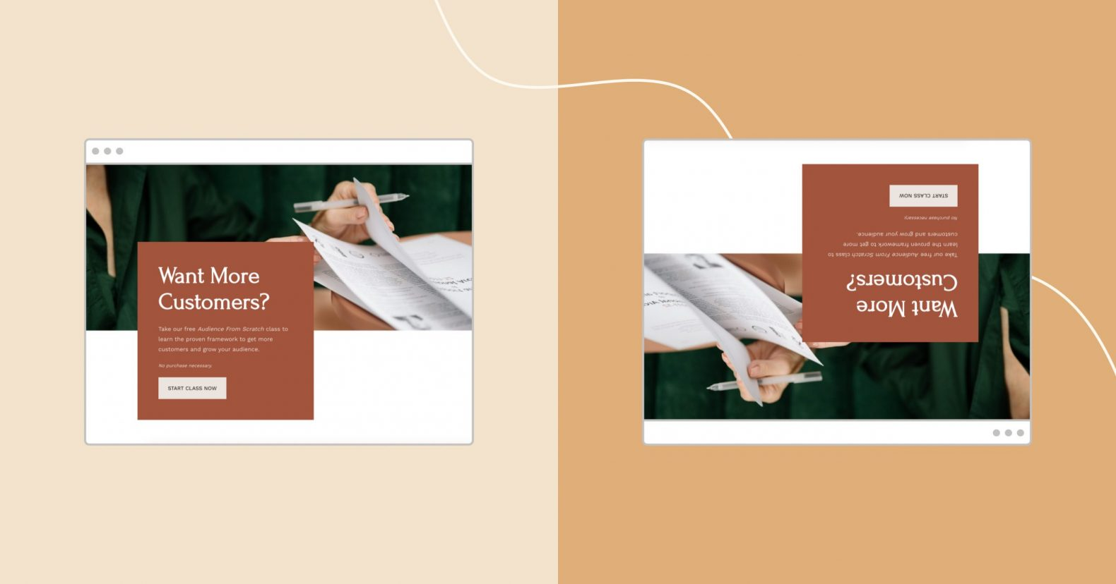 image showing two browser frames with the same landing page, one upside-down and one right-side up