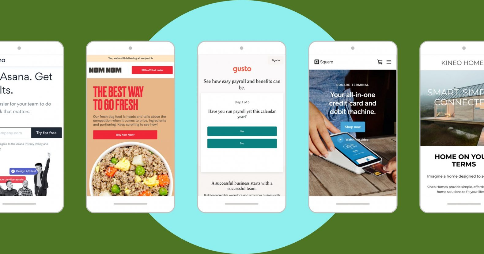 mobile landing page examples