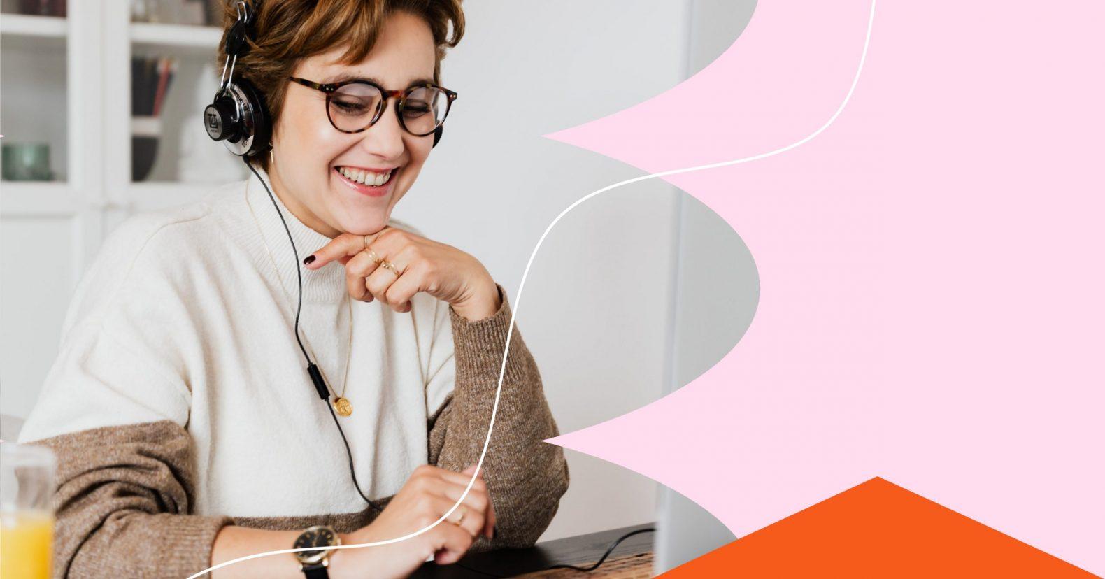 Webinar landing pages image of middle-aged brunette woman smiling at her desktop computer