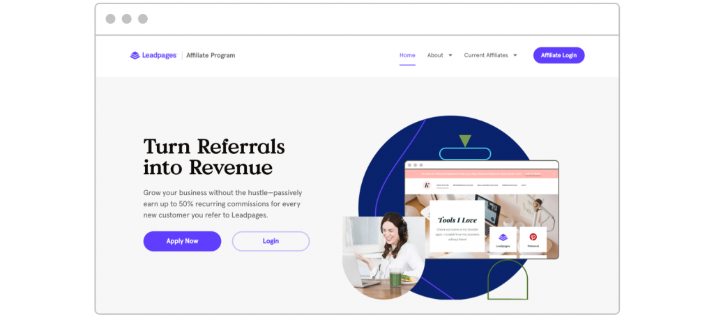 Affiliate marketing tips Leadpages Affiliate Program landing page