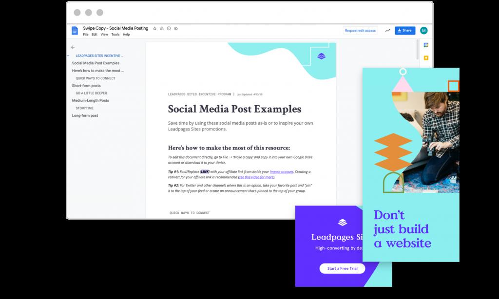 Affiliate marketing tips Leadpages affiliate sites sale kit social media swipe copy graphics