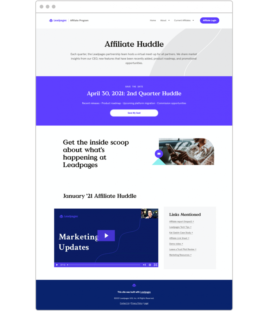 Affiliate marketing tips Leadpages Affiliate Huddle landing page