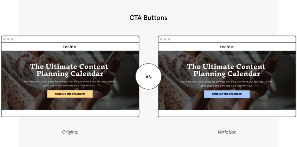 a b testing Leadpages template cta buttons
