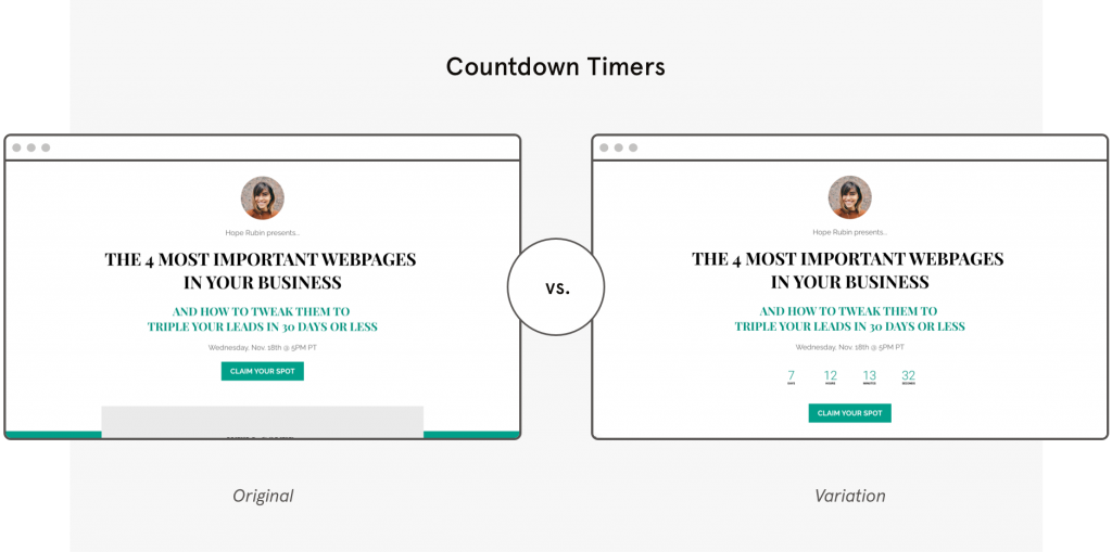 a b testing Leadpages template countdown timers
