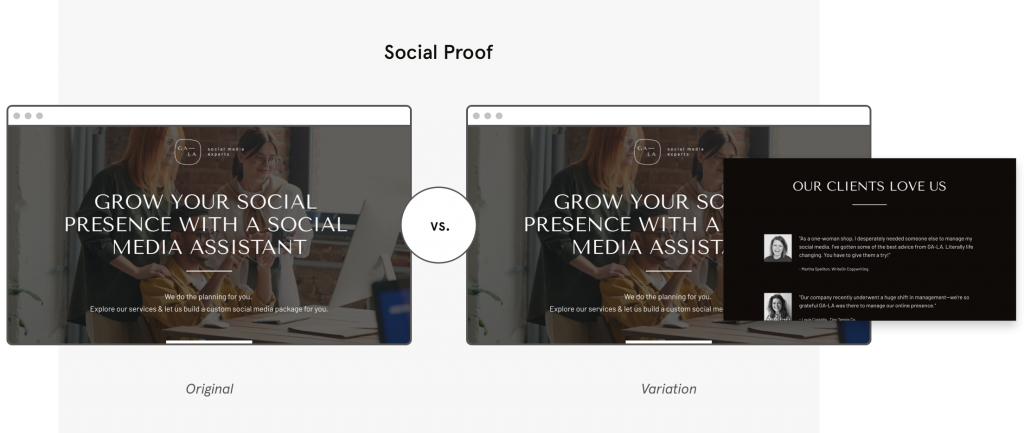 a b testing Leadpages template social proof