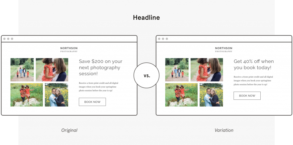 a b testing Leadpages template headline