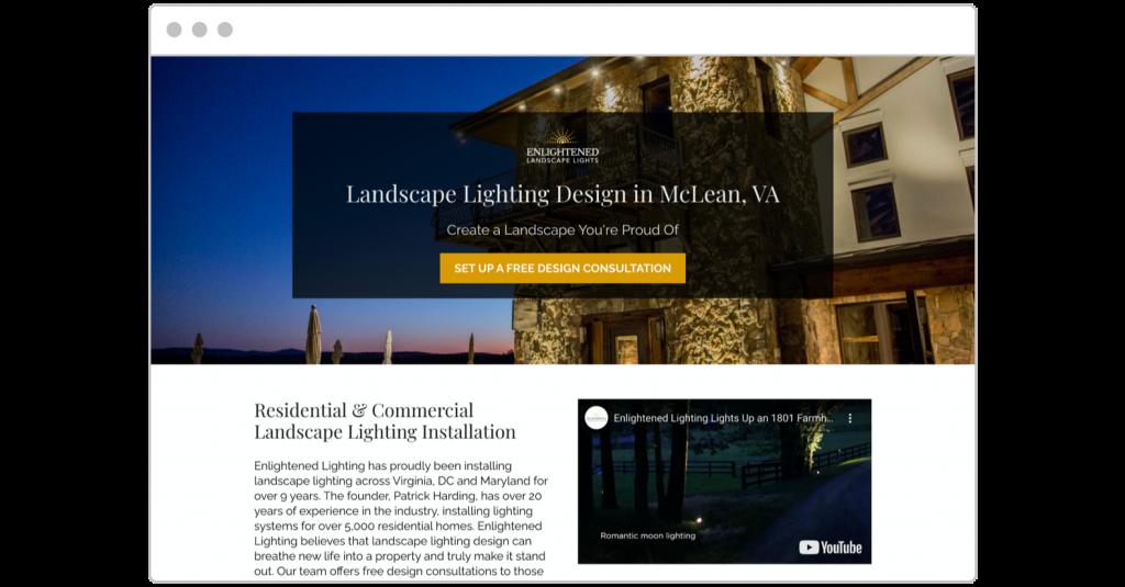 free consultation Enlightened Landscape Lights landing page