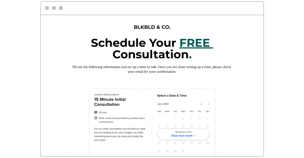 free consultation BlkBld.Co landing page