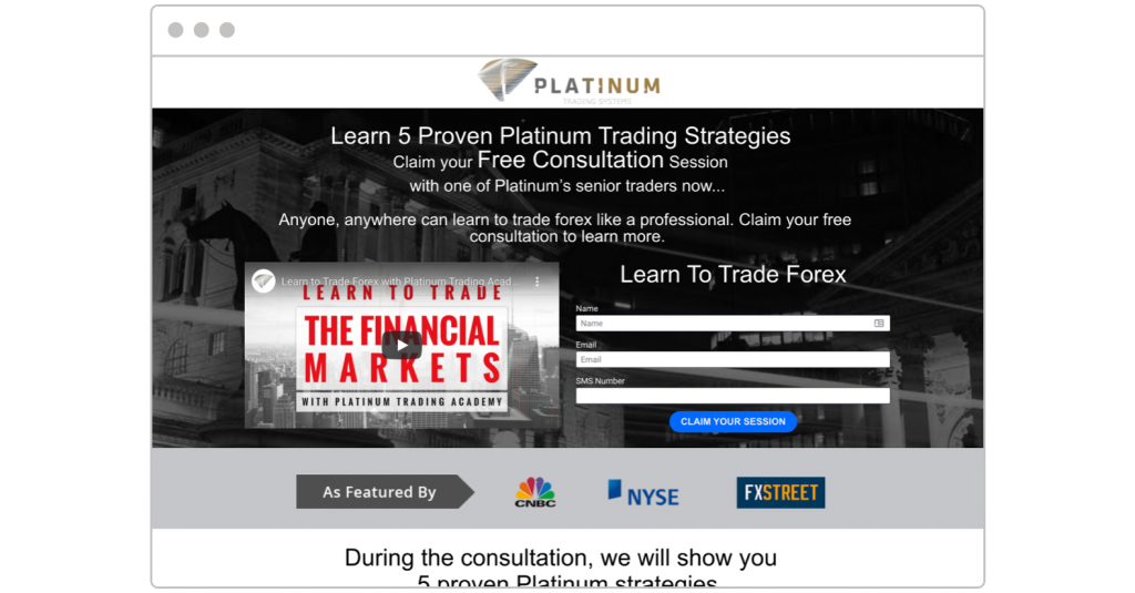 free consultation Platinum Trading Systems landing page