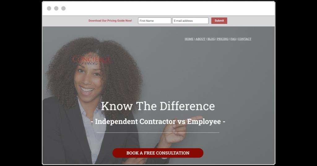 free consultation Imperative Concierge landing page