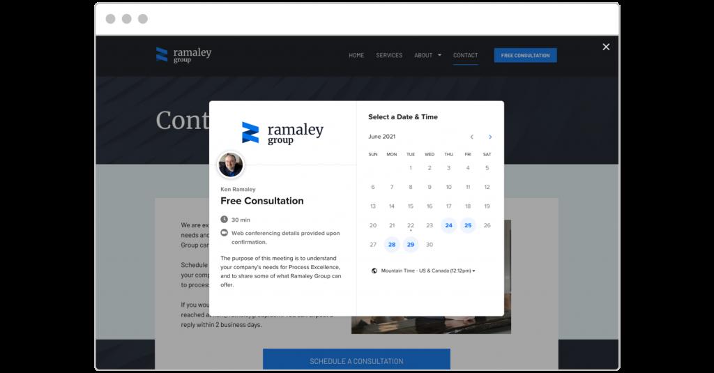 Ramaley Group website Calendly integration pop-up