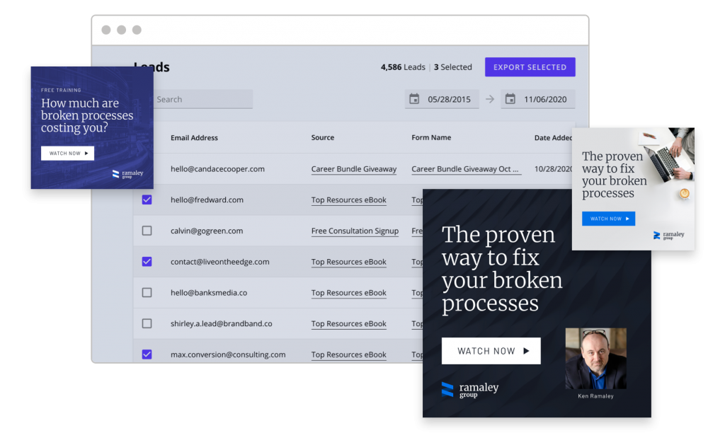 Ramaley Group Leadpages Leads Library in browser surrounded by LinkedIn ads