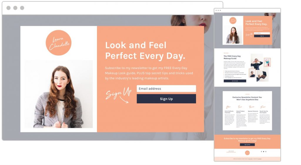 Beauty/Makeup Newsletter Sign-Up Landing Page Template - A versatile landing page template for promoting your blog or newsletter