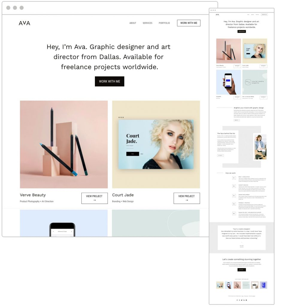 Free Design Portfolio Website Template - Show off your past work and services with this portfolio site template