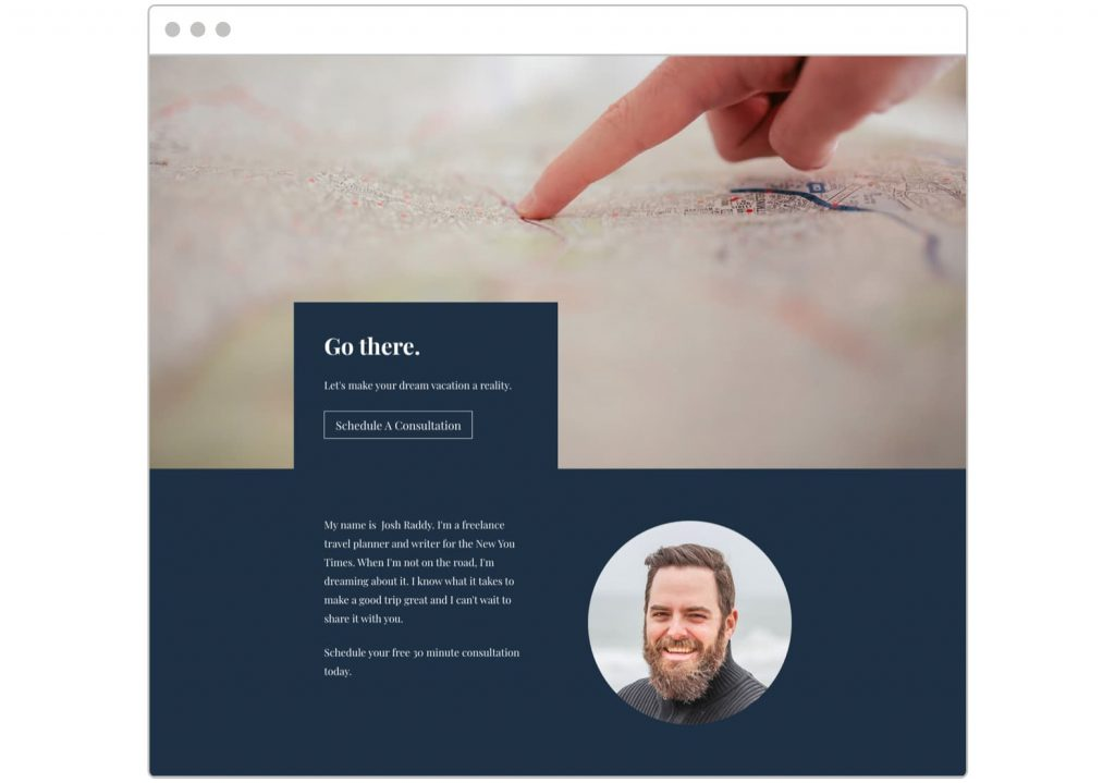 Free consultation template with about bio section and large background image