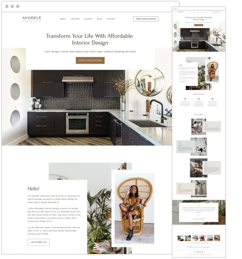 Free website template for interior designers, decorators, architects and creatives