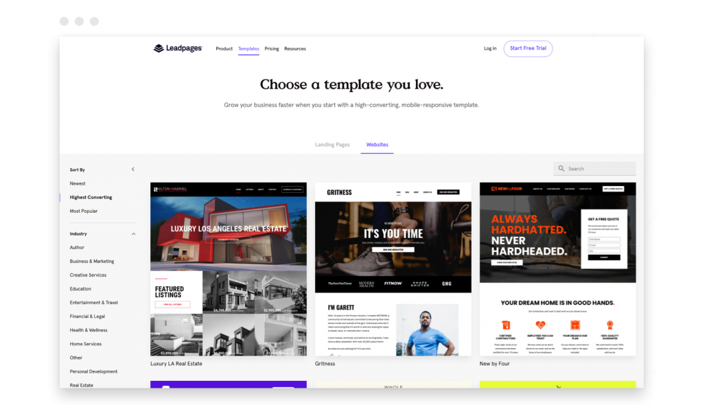 build your own website Leadpages template gallery