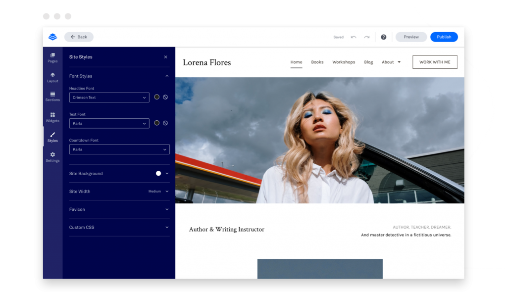 build your own website Leadpages builder global styles