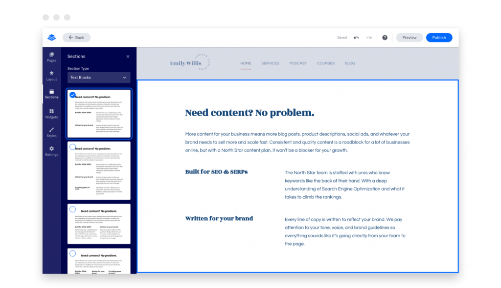 build your own website Leadpages builder add a section