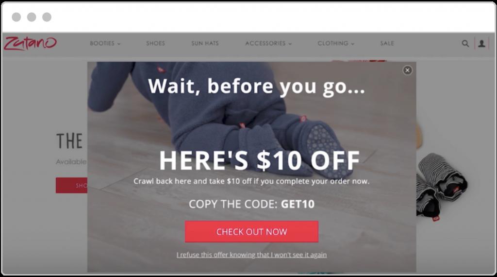 cyber week Zutano website pop-up example
