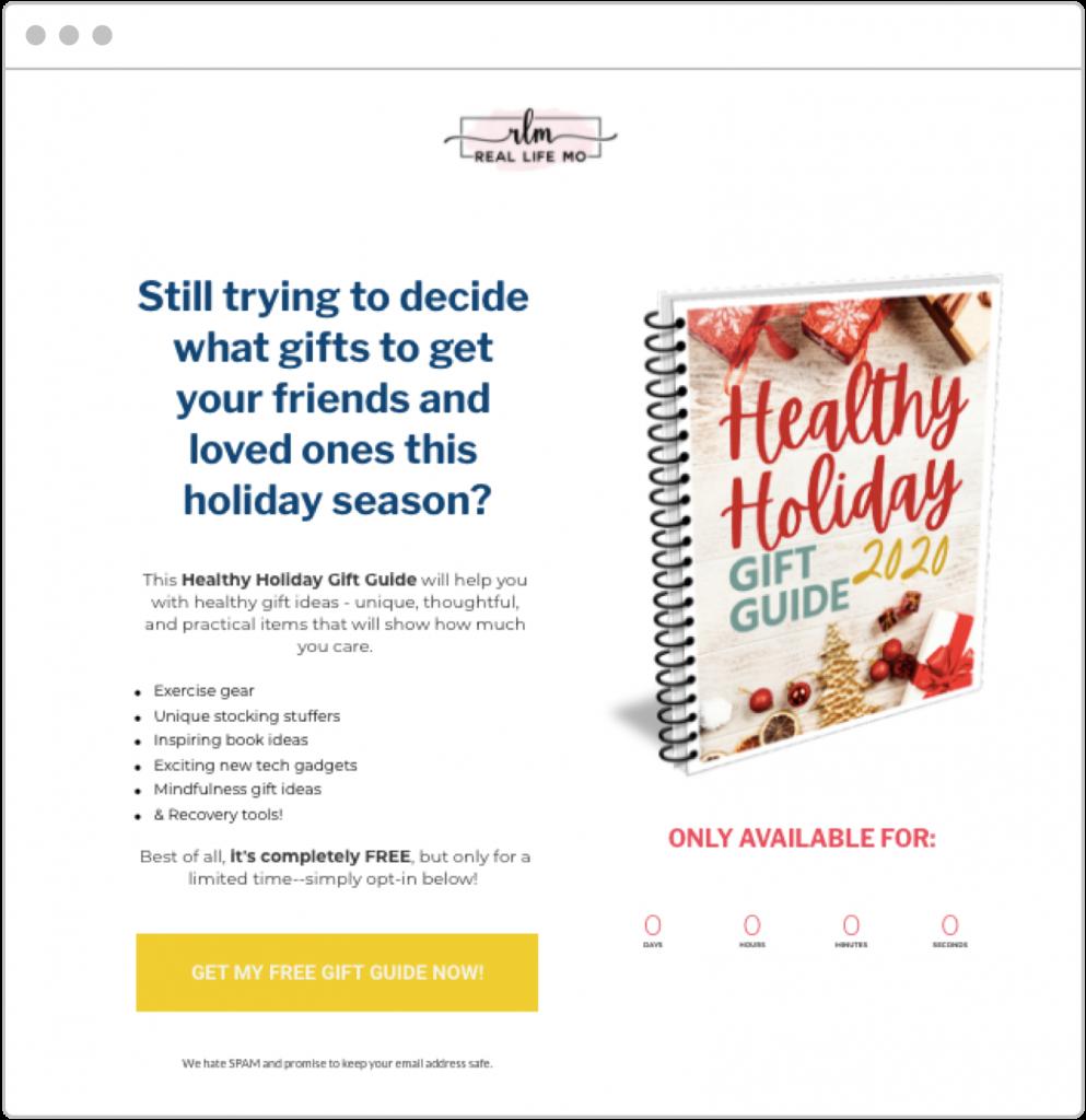 holiday marketing Real Life Mo landing page