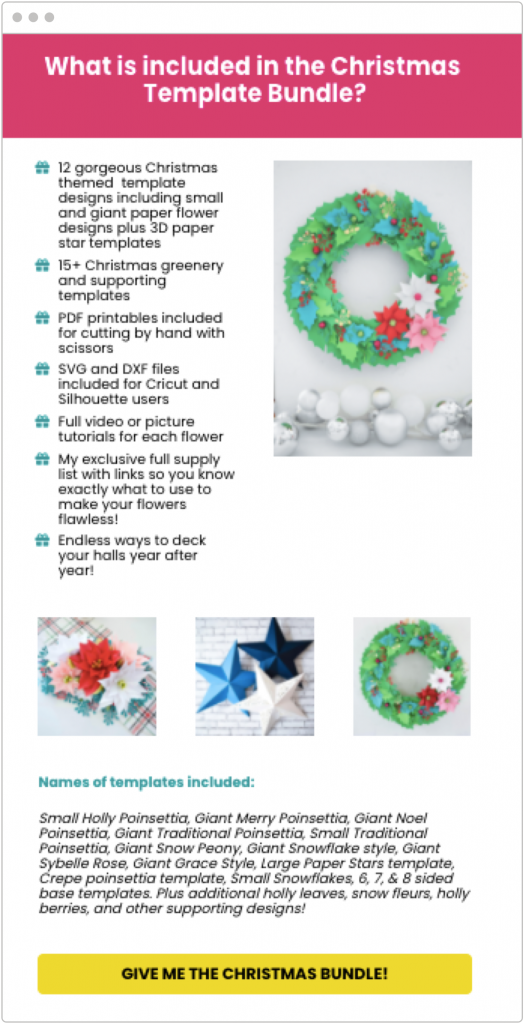 holiday marketing Abbi Kirsten Collections Christmas-themed gift bundle landing page