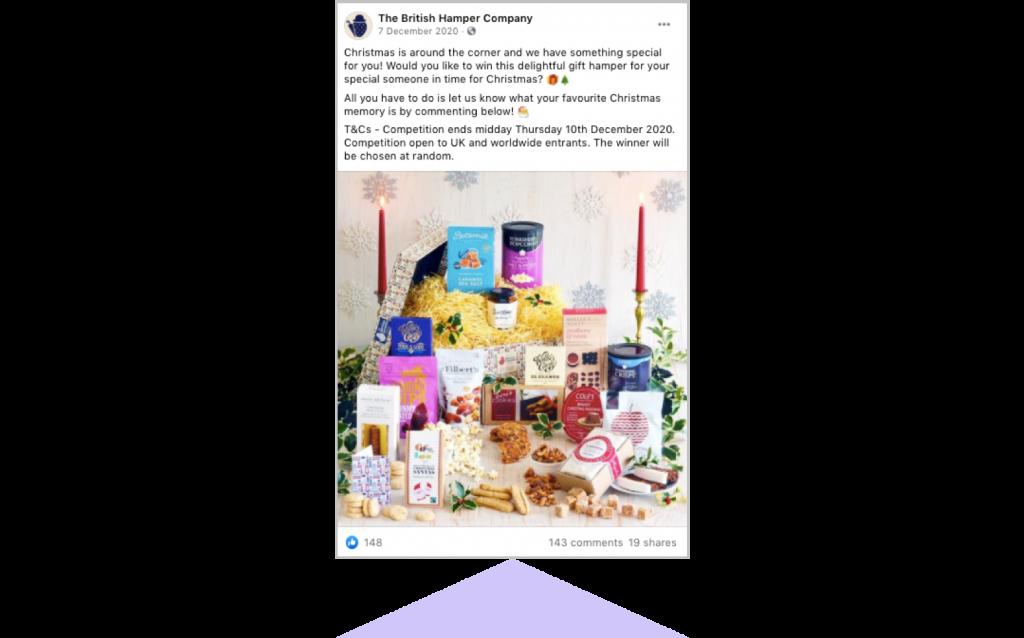 holiday marketing The British Hamper Company Christmas Facebook post