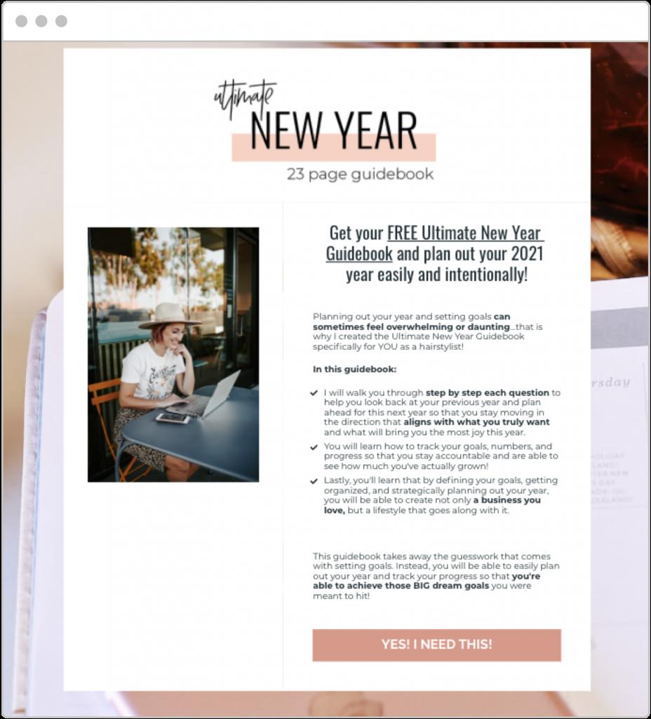 holiday marketing Jamie Dana seasonal lead magnet landing page