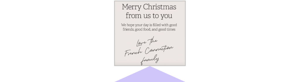 holiday marketing French connection holiday post