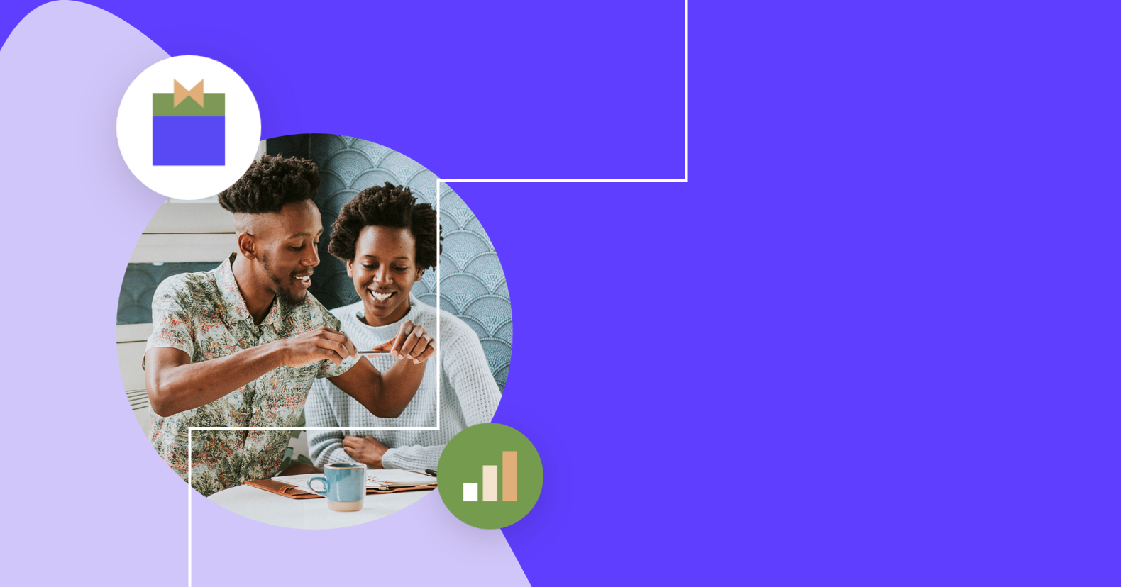 holiday marketing image shows a black man and woman sitting at a kitchen table taking a picture on their phone of a daily planner